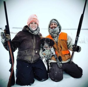 Nathan and his girlfriend Savanah with Atlas doing some winter hunting